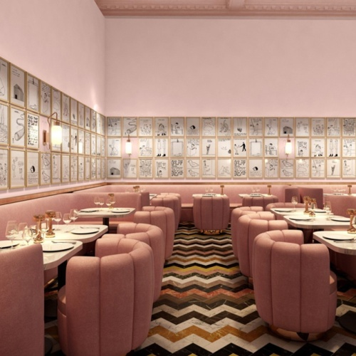 1-david-shrigley-turns-sketch-restaurant-into-a-pink-art-gallery