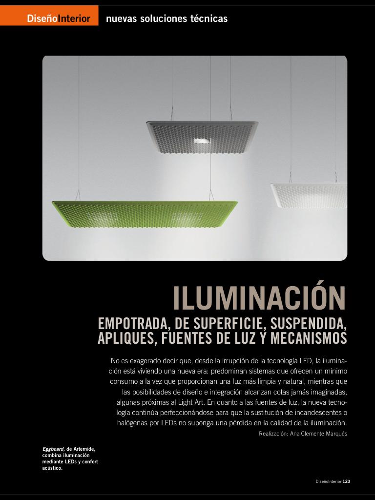 Iluminación: Empotrada, de superficie, suspendida, apliques, fuentes de luz ymecanismos.
